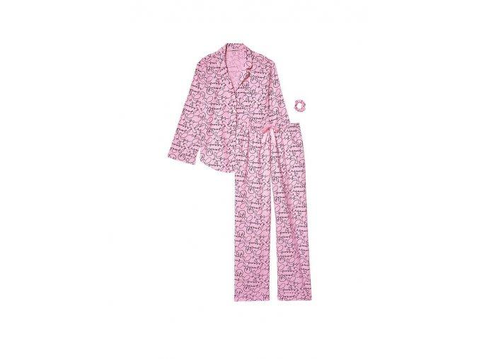flanelový pyžamový set victoria's secret s čiernymi bodkami