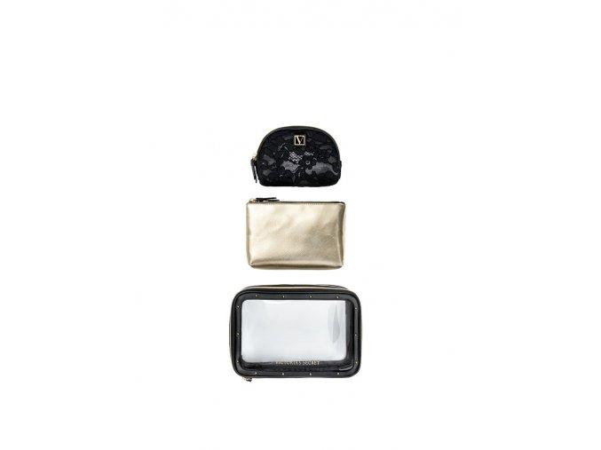 set kozmetických tašiek victoria's secret čierno-zlatý