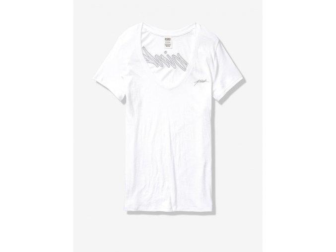 tričko victoria's secret bling PINK biela