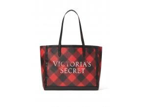 priestranná taška victoria's secret v károvanom vianočnom vzore