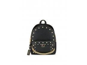 malý mestský ruksak victoria's secret v čiernej farbe so zlatou aplikáciou