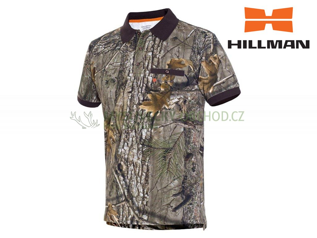Myslivecké tričko s límečkem kr. rukáv Cotton b. Kamufláž