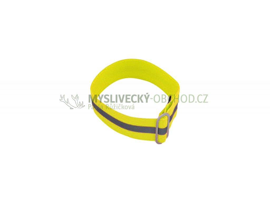 reflexni obojek guma s pruvleckou s reflexni paskou zluta