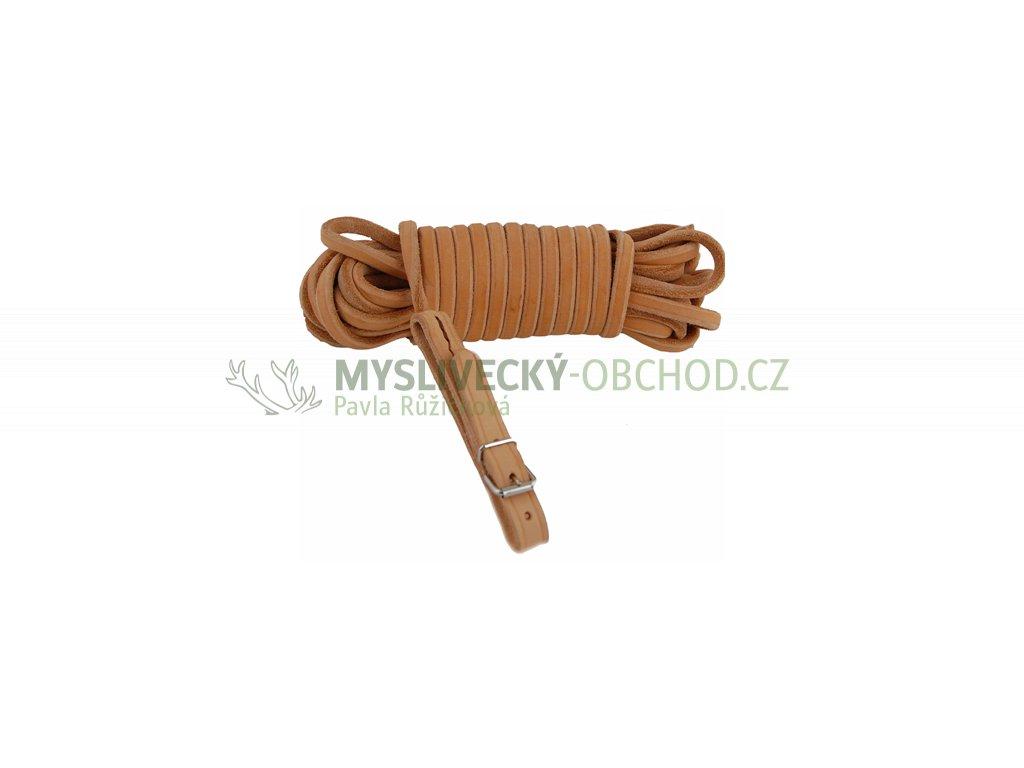 Barvářská šňůra ukončená přezkou - 6 mm, přírodní (Délka 6 metrů, Varianta kulatá kůže)