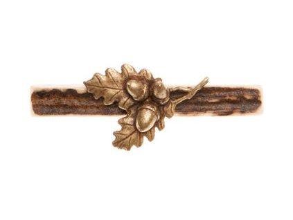 parohová spona do kravaty - dubová větvička