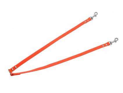 Rozdvojka na dva psy - šíře 16 mm (BIOTHANE) (Barva reflexní oranžová)