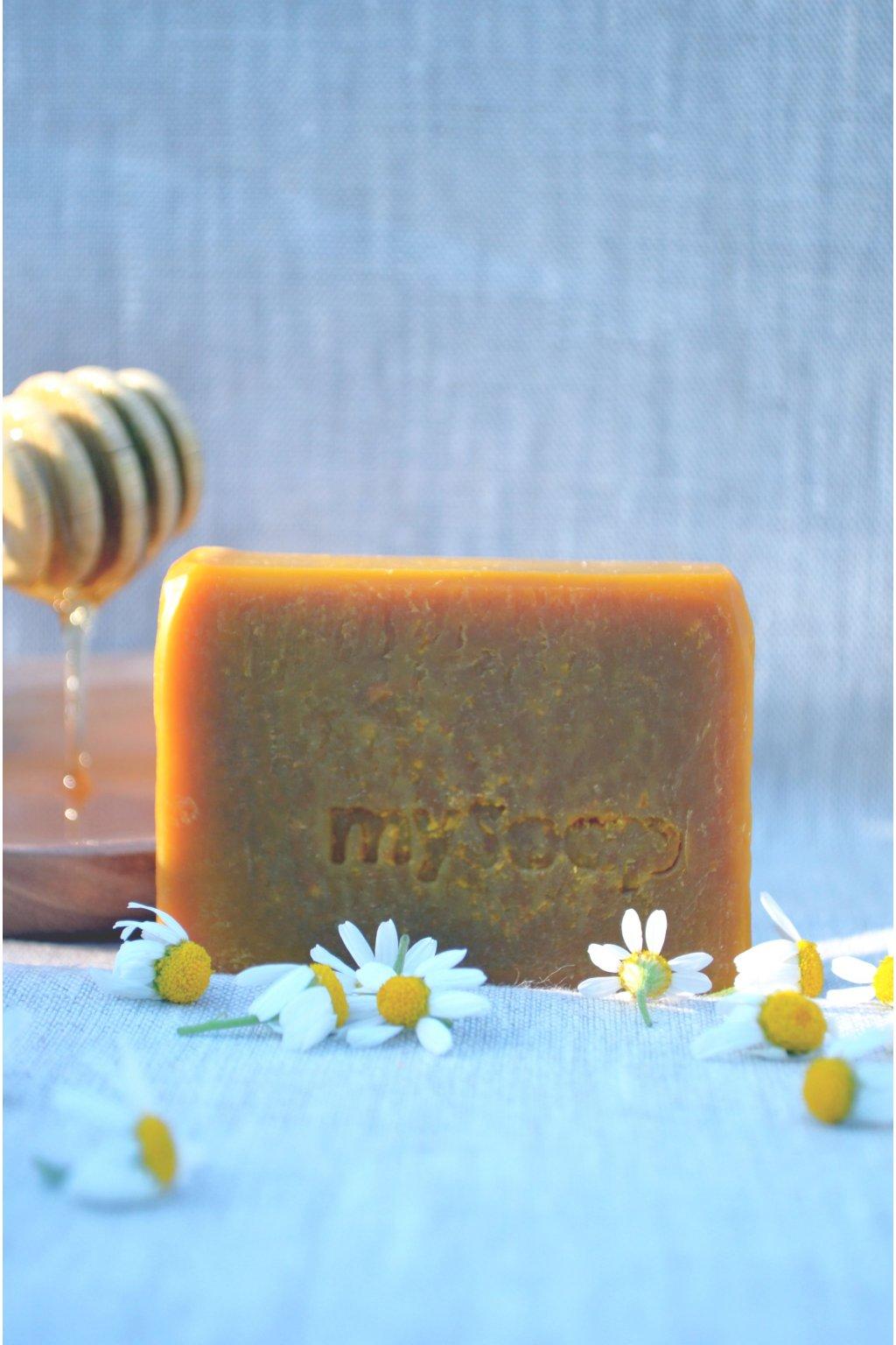 Heřmánek a med tuhé mýdlo a šampón
