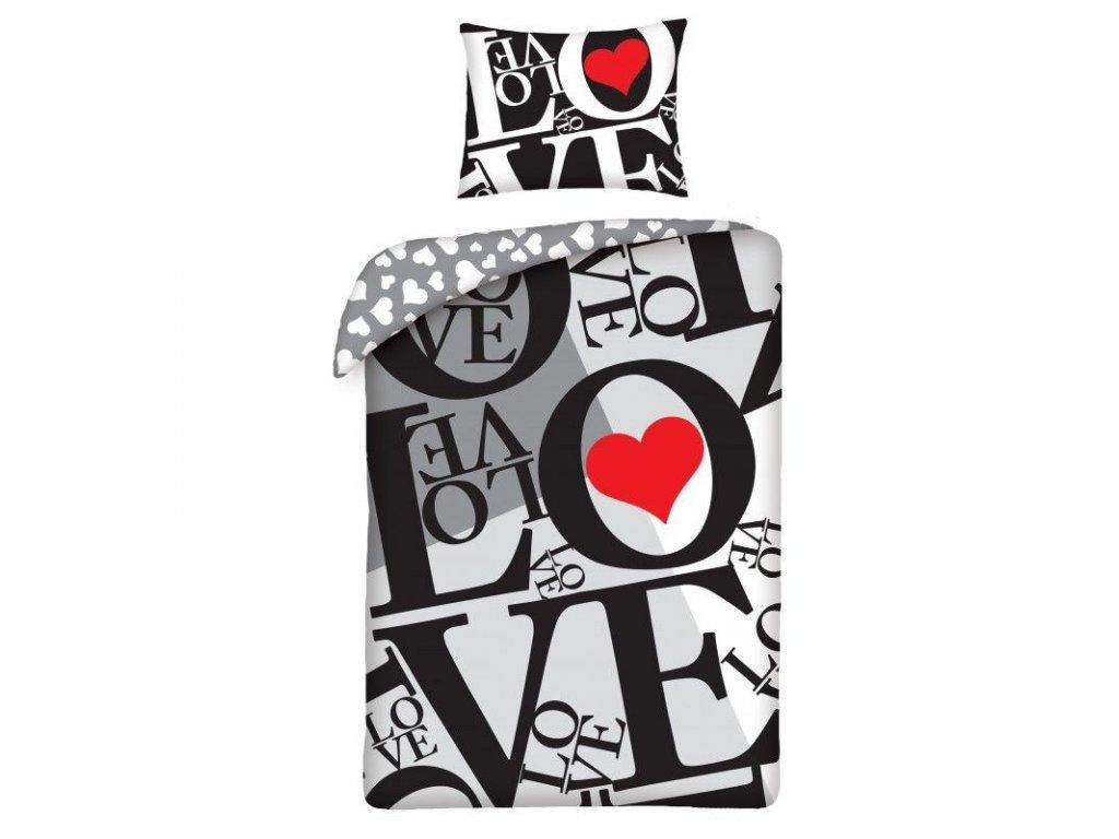 HALANTEX Povlečení Love grey Bavlna, 140/200, 70/90 cm