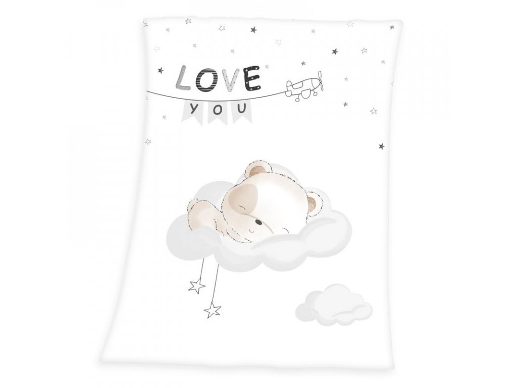 HERDING Soft fleece deka Malý Medvídek Polyester, 75/100 cm