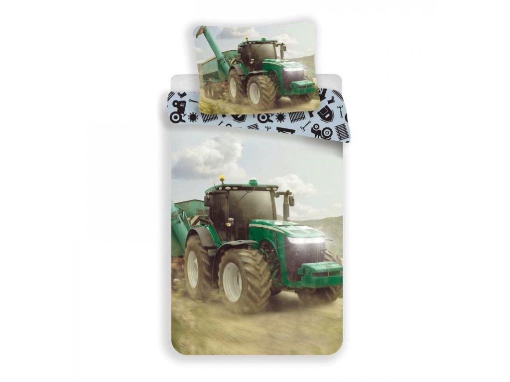 JERRY FABRICS Povlečení Traktor green Bavlna, 140/200, 70/90 cm