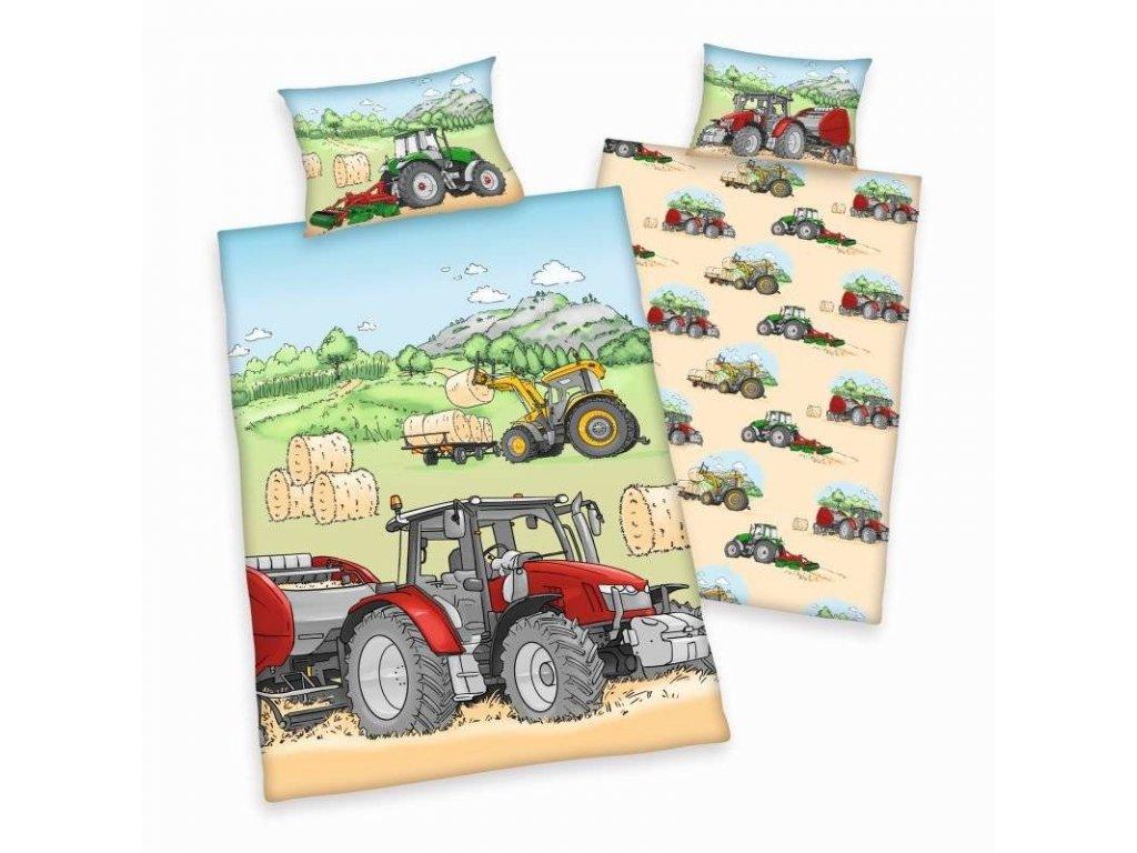 HERDING Povlečení do postýlky Traktor Bio Bavlna Bio Bavlna, 100/135, 40/60 cm