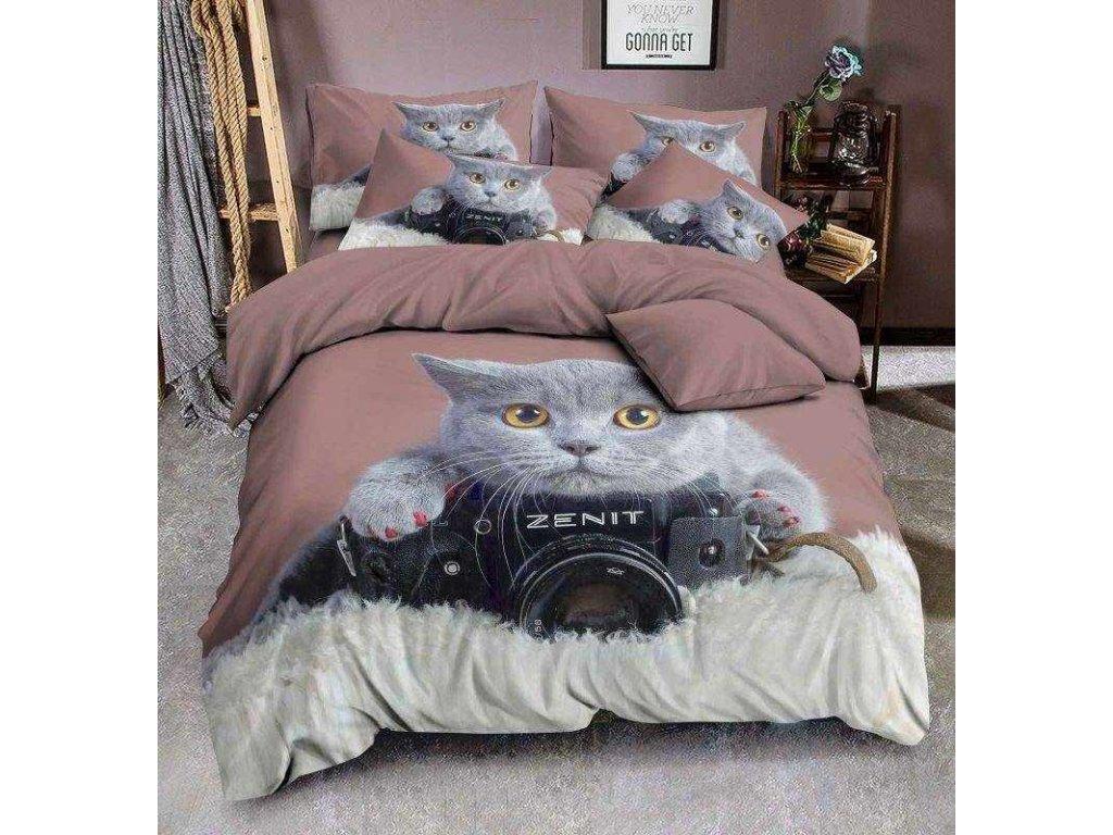 3D Povlečení Grey cat photo micro 140/200, 70/90 +40/40