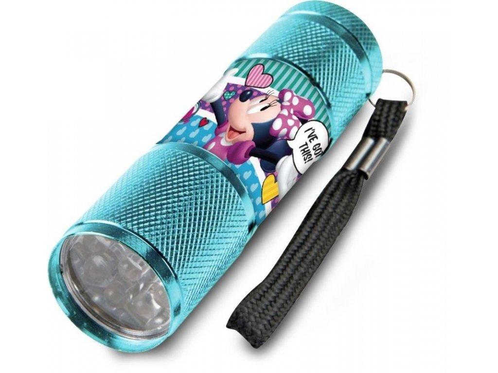 EUROSWAN Dětská hliníková LED baterka Minnie srdíčka Hliník, Plast, 9x2,5 cm