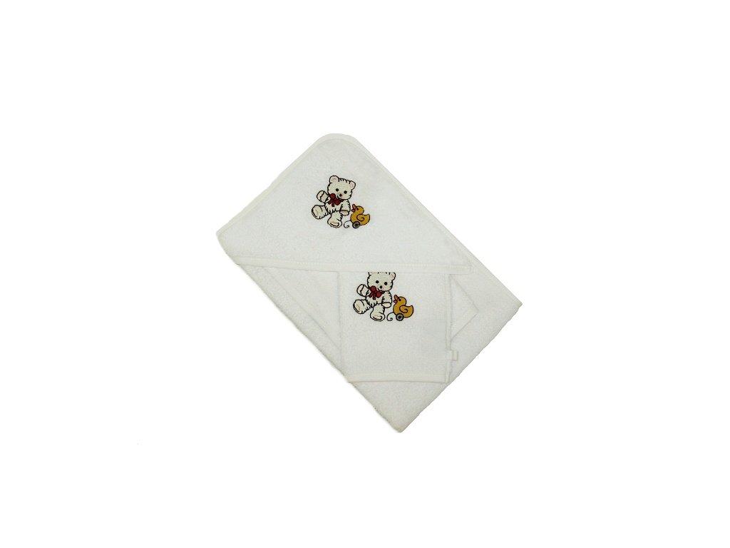Froté osuška s kapucí slintákem a žínkou 70x70 38x28 13x25
