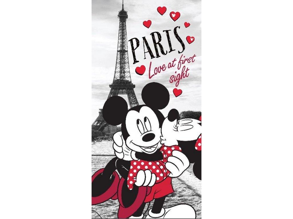 JERRY FABRICS Osuška Mickey a Minnie v Paříži Bavlna - Froté, 70/140 cm