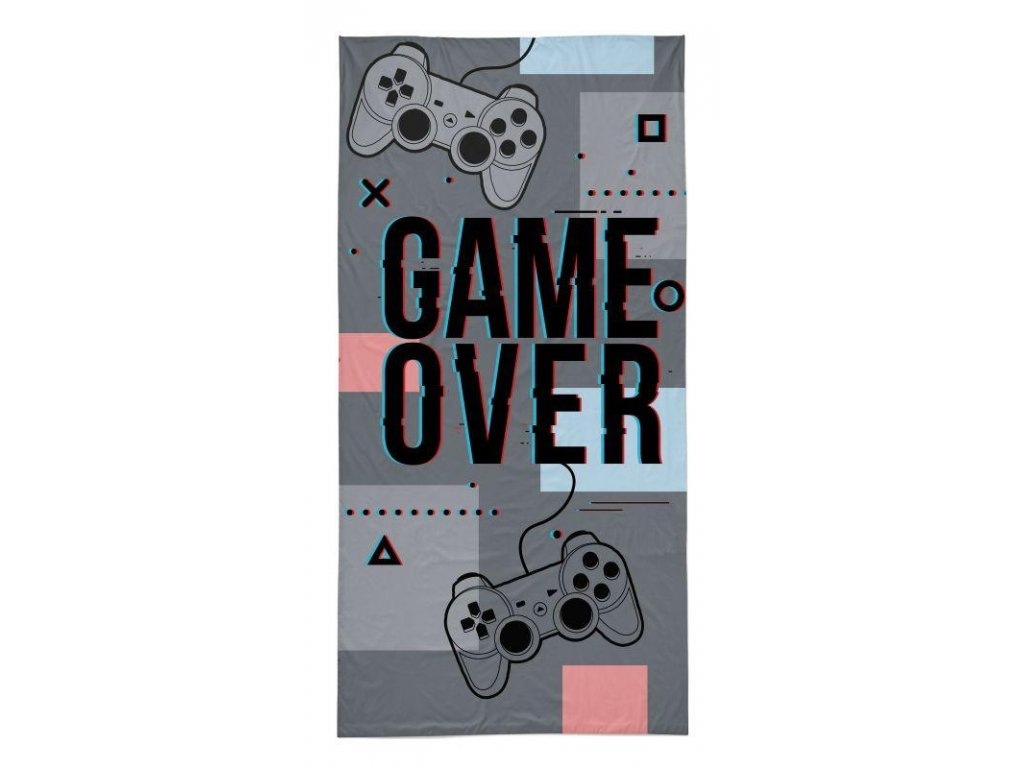 DETEXPOL Osuška Game Over grey Bavlna - Froté, 70/140 cm