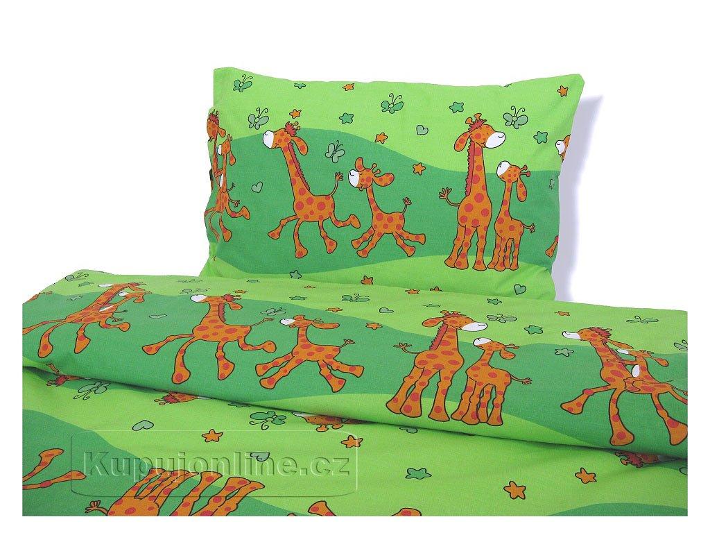 Dětské povlečení Žirafa zelená D43  90/130