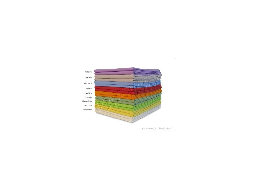 Bavlněné plátěné prostěradlo 1 lůžko s gumou 90x200 barevné Veratex