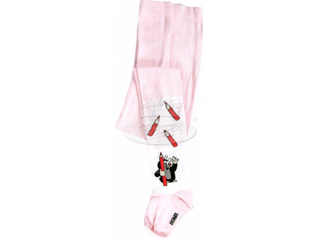 Dětské punčocháče KR 222 Krtek vzor 6 - růžová