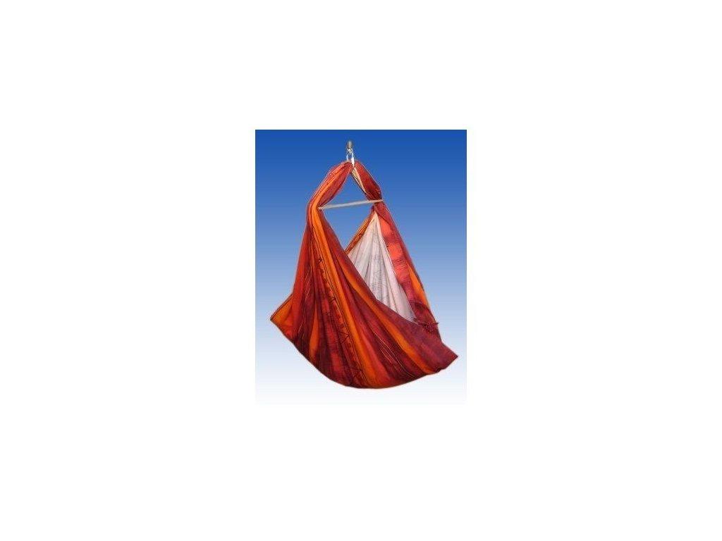 Hacka Klasik - Závěsná textilní kolébka - oranžovo - červená