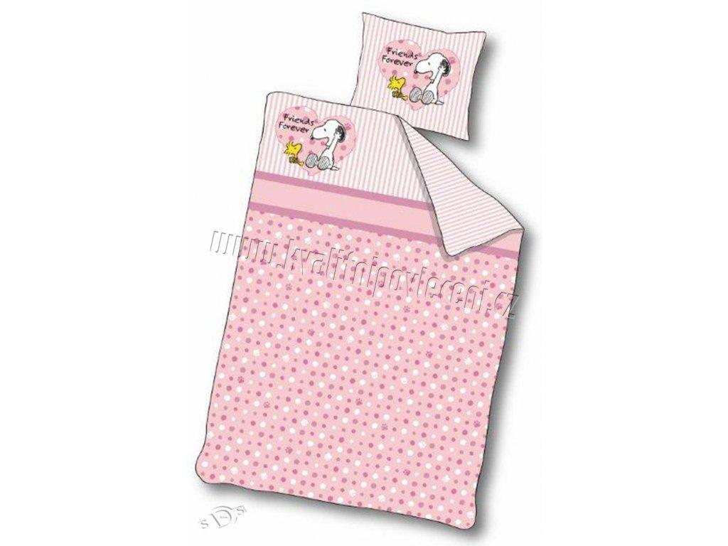 Dětské povlečení do postýlky Snoopy růžové 100/140 - skladem
