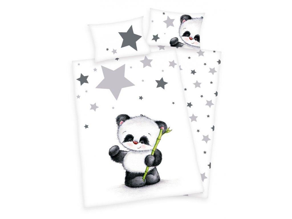 FLANEL Povlečení do postýlky Panda 100/135, 40/60