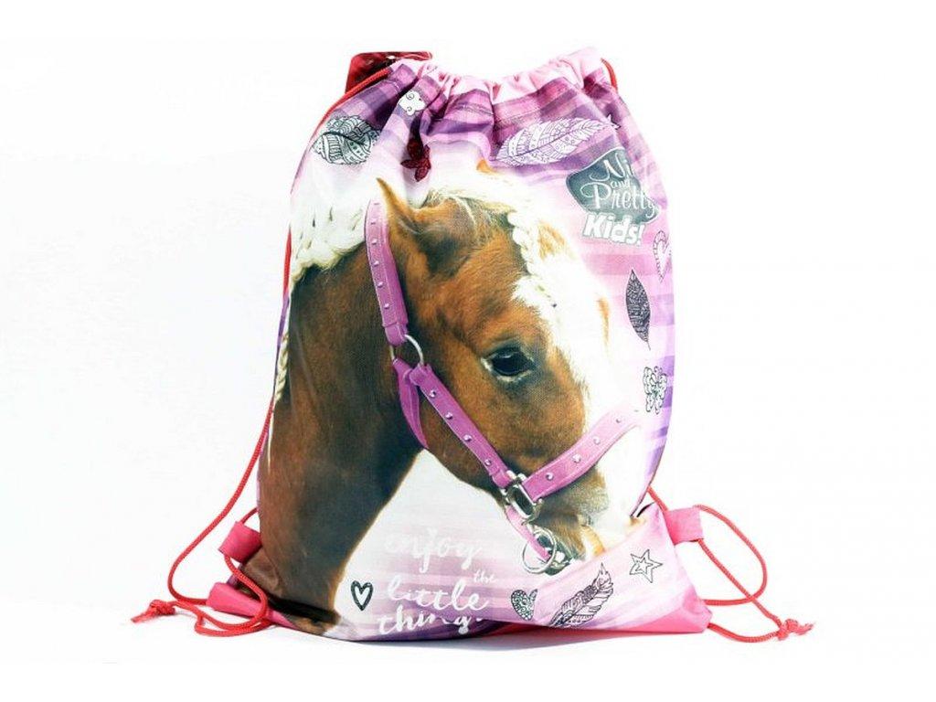 Taška na tělocvik a přezůvky Nice and Pretty Kůň růžová