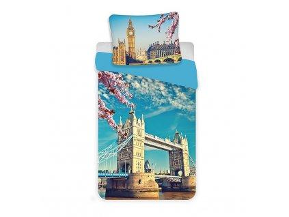 JERRY FABRICS Povlečení Londýn blue Bavlna, 140/200, 70/90 cm