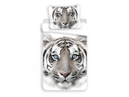 JERRY FABRICS Povlečení Bílý Tygr Bavlna, 140/200, 70/90 cm