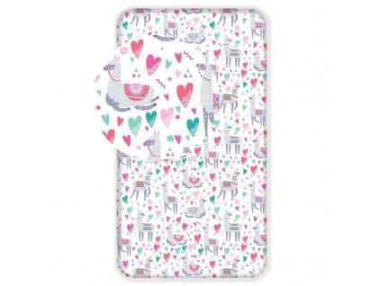 JERRY FABRICS Prostěradlo Lama pink Bavlna, 90/200 cm