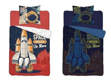 DETEXPOL Povlečení Raketa na Mars svítící Bavlna, 140/200, 70/80 cm
