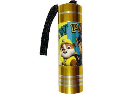 EUROSWAN Dětská hliníková LED baterka Paw Patrol žlutá Hliník, Plast, 9x2,5 cm