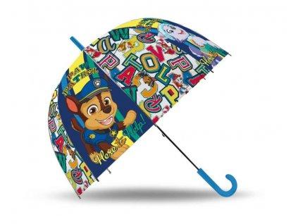 EUROSWAN Vystřelovací průhledný deštník Paw Patrol Help POE, průměr 70 cm