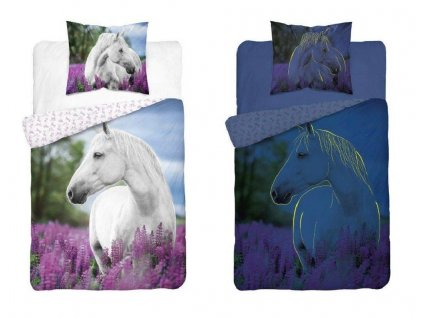 DETEXPOL Povlečení Bílý Kůň v levanduli svítící Bavlna, 140/200, 70/80 cm - skladem