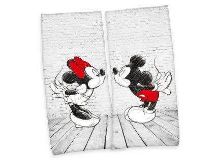 HERDING Sada 2 ks osušek Mickey a Minnie Bavlna - Froté, 80/180 cm