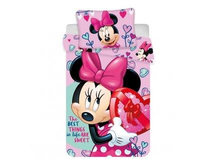 Povlečení do postýlky Minnie baby pink 100/135, 40/60 - SKLADEM