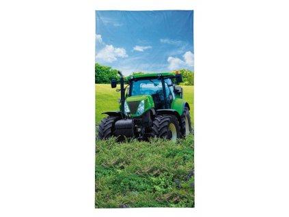 DETEXPOL Osuška Traktor zelený Bavlna - Froté, 70/140 cm