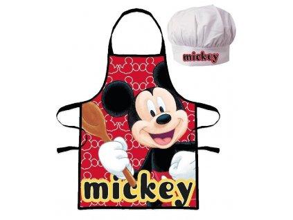 EUROSWAN Dětská zástěra s kuchařskou čepicí Mickey Polyester 52x42 cm