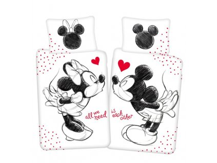 JERRY FABRICS Povlečení Mickey a Minnie All We Need Bavlna, 140/200, 70/90 cm