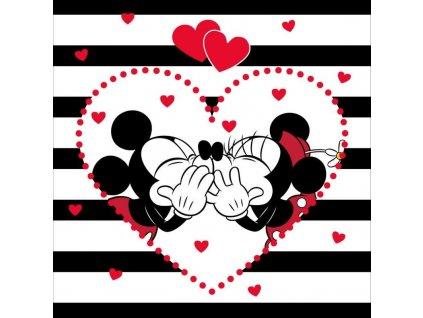 Povlak na polštářek Mickey a Minnie stripes micro 40/40-skladem