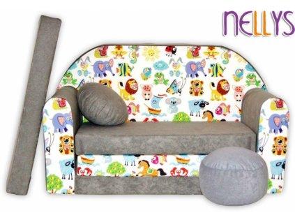 NELLYS Rozkládací dětská pohovka 53R - Malá zvířátka safari v šedé