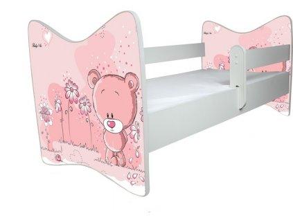 BabyBoo Dětská postýlka LUX Medvídek STYDLÍN růžový 140x70 cm