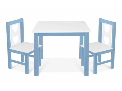 BABY NELLYS Dětský nábytek - 3 ks, stůl s židličkami - modrá , bílá, B/02