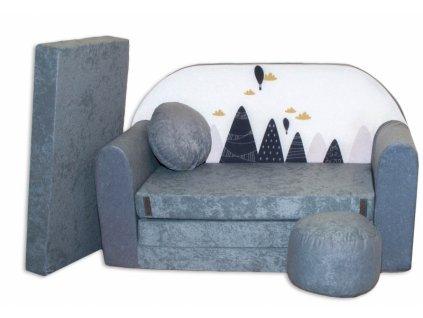 Rozkládací dětská pohovka Nellys - Hory, les, šedá/bílá