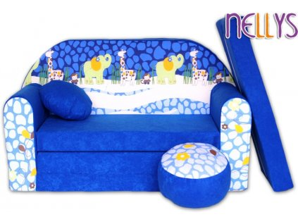 NELLYS Rozkládací dětská pohovka 28R - Safari modré