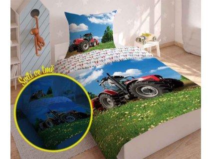 DETEXPOL Povlečení Traktor na louce svítící Bavlna, 140/200, 70/80 cm