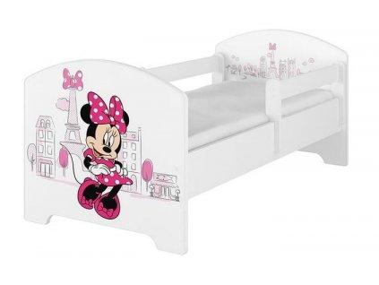 BabyBoo Dětská postel 140 x 70cm Disney - Minnie Paris, bílá - včetně šuplíku.