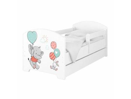 BabyBoo Dětská postel 140 x 70cm - Slon