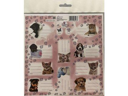 BENIAMIN Samolepící jmenovky Sweet Pets Koťata a Štěňata Papír, 20x20 cm - SKLADEM