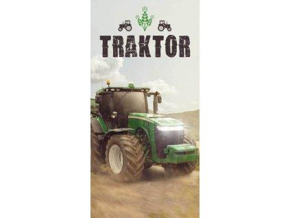 JERRY FABRICS Osuška Traktor green Bavlna - Froté, 70/140 cm